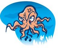 сердитый восьминог шаржа Стоковое Фото