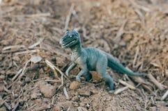 сердитый динозавр игрушки на песке стоковые фотографии rf