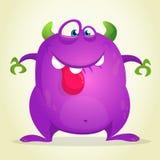 Сердитый изверг шаржа показывая язык Vector иллюстрация фиолетового характера изверга на хеллоуин иллюстрация штока