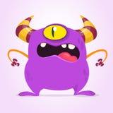 Сердитый изверг шаржа с одним глазом Иллюстрация изверга вектора фиолетовая Дизайн хеллоуина иллюстрация вектора
