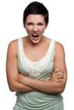 сердитый кричать женщины стоковое фото