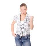 сердитый кулачок вверх по детенышам женщины Стоковая Фотография