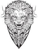 Сердитый лев изолировано Страница расцветки Бесплатная Иллюстрация
