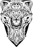Сердитый леопард изолировано Страница расцветки Бесплатная Иллюстрация