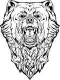 сердитый медведь изолировано Страница расцветки Бесплатная Иллюстрация