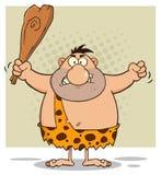 Сердитый персонаж из мультфильма троглодита держа клуб Стоковые Изображения