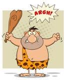 Сердитый персонаж из мультфильма троглодита держа клуб Стоковое фото RF