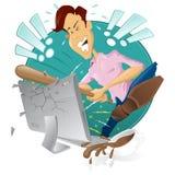 сердитый разрушать компьютера расстроил его человека бесплатная иллюстрация