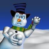 сердитый снеговик иллюстрация вектора