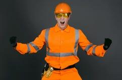 сердитый строитель стоковое фото
