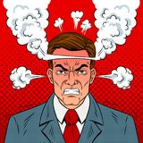 Сердитый человек с кипя головным вектором искусства шипучки Стоковые Изображения