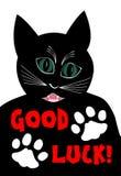 Сердитый черный кот желая удачу Шарж черного tomcat на белой предпосылке, 2 белых лапках кота иллюстрация вектора