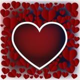 Сердца Валентайн Бумажные элементы летая на красной открытке предпосылки иллюстрация вектора