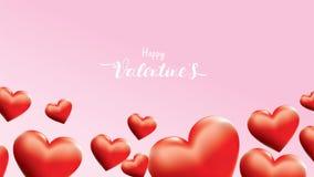 Сердца Валентайн 3D красочные красные романтичные формируют летание и плавать на розовую предпосылку символы любов для счастливых иллюстрация вектора