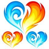 Сердца вектора пожара и льда. Символ влюбленности Стоковые Фото