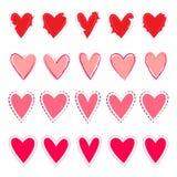 Сердца вектора установленные в стиль нарисованный рукой бесплатная иллюстрация