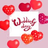 Сердца воздушные шары Иллюстрация праздника вектора парящих сердец воздушного шара и знамени бумаги Предпосылка дня свадьбы празд