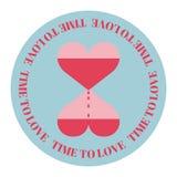 2 сердца в форме часов на круглой предпосылке Дизайн на день ` s валентинки иллюстрация вектора