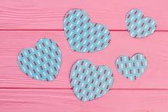 Сердца голубой бумаги для знамени Стоковые Фото