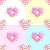 сердца делают по образцу безшовную помадку Донут и леденец на палочке Стоковые Изображения