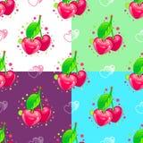 сердца делают по образцу безшовную помадку Пары вишни Стоковое Изображение