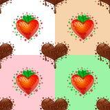 сердца делают по образцу безшовную помадку Шоколад и клубника Стоковая Фотография