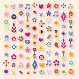 Сердца, звезды и цветки шаржа Стоковые Фото