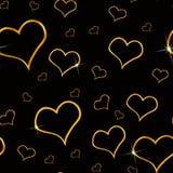 сердца золота предпосылки безшовные Стоковая Фотография