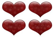сердца изолировали красную белизну Стоковое Фото
