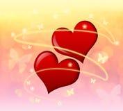 Сердца и бабочки Стоковое Изображение