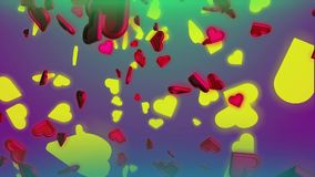 Сердца и влюбленность дня ` s валентинки сток-видео