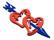 Сердца и стрелка Стоковые Фото