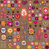 Сердца & картина цветков Стоковая Фотография