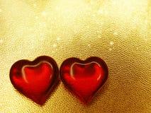 Сердца концепции праздника влюбленности дня ` s валентинки на сияющем backgr золота Стоковое Изображение RF