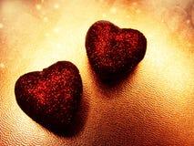 Сердца концепции праздника влюбленности дня ` s валентинки на сияющем backgr золота Стоковое Изображение