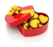 сердца коробки золотистые Стоковое Фото