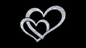 Сердца моргать приветствия частиц значка элемента, приглашение, предпосылка торжества