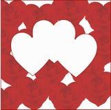 3 сердца на предпосылке сердец от роз Стоковая Фотография RF