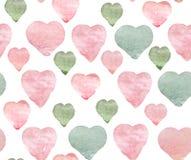 Сердца пинка акварели зеленые на белой предпосылке Ручной работы безшовная картина стоковое фото rf