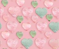 Сердца пинка акварели зеленые на розовой предпосылке Ручной работы картина стоковое изображение rf