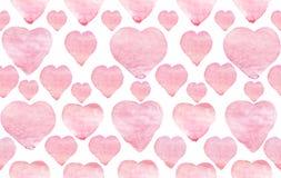 Сердца пинка акварели на белой предпосылке Ручной работы безшовная картина стоковые изображения rf