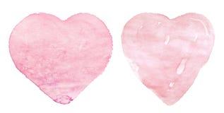 Сердца пинка акварели на белой предпосылке Ручной работы для карты свадьбы, дня Валентайн, ткани, одежд стоковое изображение rf