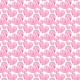 Сердца пинка валентинки красивого геометрического драгоценного кристаллического графического симпатичного художнического нежного  Стоковое Изображение