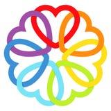 Сердца соединенные радугой Стоковая Фотография RF