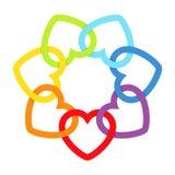 Сердца соединенные радугой Стоковое фото RF