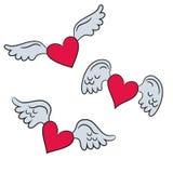 Сердца с крылами на белой предпосылке для вашего дизайна иллюстрация вектора