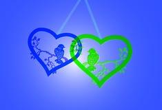 Сердца с птицами Стоковое Фото