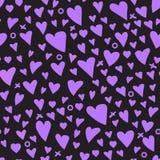 Сердца текстуры детей картина Girly фиолетовая безшовная Стоковое Изображение RF