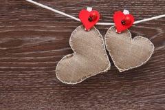 Сердца холстины handmade Стоковые Изображения
