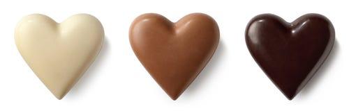 Сердца шоколадного молока 3, темных и белых Стоковая Фотография RF